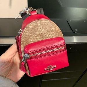 NWT Coach Signature Leather Mini Backpack Key Fob